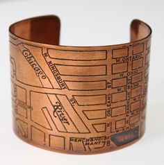 Love this Copper Cuff with Chicago Map. Would be a great gift!  $50  via Etsy