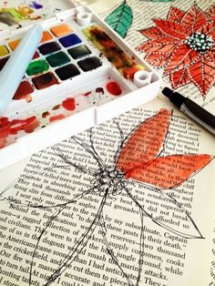 paint over old book pages with water color