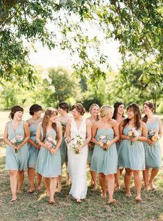 Pale green grey bridesmaids dresses