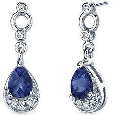 Simply Classy 2.00 Carats Blue Sapphire Dangle Earrings in Sterling Silver Rhodium Finish -