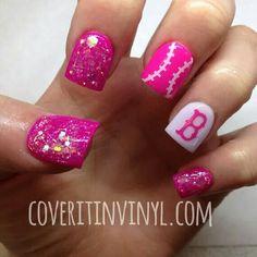 Pink glitter Baseball nailart #nailart @JenniferW