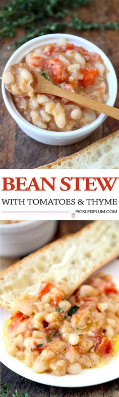 Hearty Bean Stew with Tomatoes and Thyme - Healthy Comfort food perfect for the holiday season! Total prep time: 5 minutes. Gluten Free, Vegan   pickledplum.com