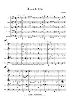 Valse des Fleurs (Waltz of the Flowers) (Abridged) arr. Bassoon, Oboe, Clarinet, Print Sheet Music, Sheet Music Pdf, Abridged Version, Original Version, Orchestra, Writing