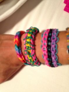 Loom Bracelet / rubber band bracelets -- we gave our oldest daughter a bracelet kit for Christmas .... I finally figured out how to do some other styles!!