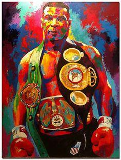 Mike-Tyson-Boxeo-Boxer-pintura-al-oleo-lienzo-abstracto-pintado-a-mano-Arte-Pared-36in