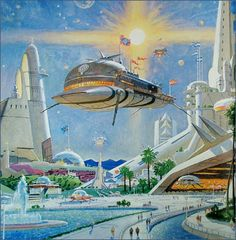 """Pioneering The Space Frontier"" - An Otherworldly Art Of Robert McCall - automobil Retro Kunst, Retro Art, Futuristic City, Futuristic Architecture, Sci Fi Kunst, Science Fiction Kunst, Arte Sci Fi, Illustrations Vintage, Sci Fi City"