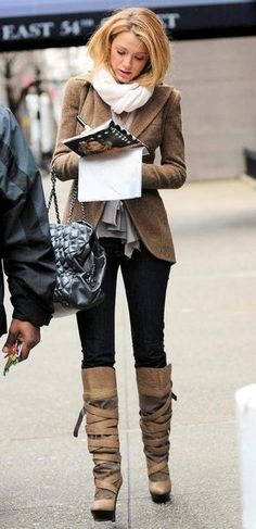 Blake Lively; Grey top, Brown coat, white scarf,skinny jeans, and strappy knee high boots