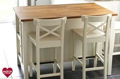 IKEA Stenstorp Kitchen Island with Ingolf bar stools