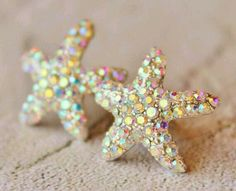 Opal color starfish earrings