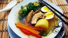 Sopa de Alho Poró, Espinafre, Legumes e Carne Suína