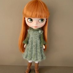 Pleated Knitted Pinafore and Sweater for Blythe by myfairdolly