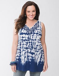 Seductively soft for any-season comfort, this sassy printed tank offers the quality of our designer-inspired Lane Collection. Featuring intricate embroidery and subtle beading at the neckline, this sexy tank flatters your curves with a V-neck and V-back, plus wide straps so you wear it with your favorite bra. Longer length complements trendy jeggings and leggings, too. lanebryant.com