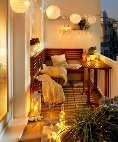 63 cozy apartment balcony decorating ideas - Home Page Apartment Balcony Decorating, Apartment Balconies, Cozy Apartment, Apartment Living, Apartment Hacks, Decorating Small Apartments, Apartment Patios, Small Apartment Storage, Studio Apartment