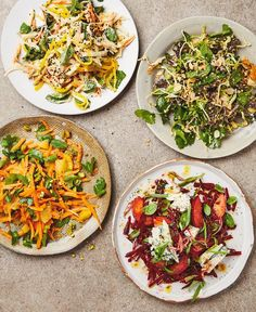 Yotam Ottolenghi's beautiful salads (clockwise from top left): root vegetables with mango and curried yoghurt; hispi cabbage and kalette slaw; beetroot, plum and Dolcelatte salad; Moroccan carrot salad with orange and pistachio. #wintertime