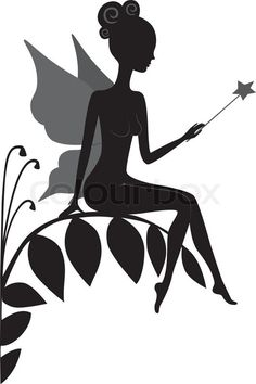 Stock vector of 'Silhouette of magic fairy'