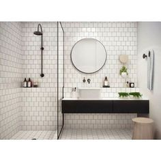 I could live in this Scandi styled bathroom. So fresh and luxurious -Mae from http://ift.tt/1L8L8Um #scandinavian #scandinavianbathroom #scandibathroom #bathroominspiration #bathroominspiration #bathroomideas #white-tiles #white #crisp #fresh #relax #relaxation #monochrome #mirror #basin #touchofgreen #shower #touchoftimber #light by maeandrae Bathroom designs.