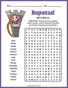 Have fun while reading the classic fairy tale Rapunzel with this engaging word search worksheet activity. There are 15 vocabulary words for puzzlers to search for in the grid. They'll need to look horizontally, vertically and backwards for