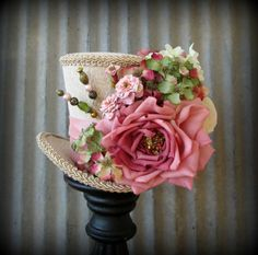 Pink and IVory Flower Explosion Mini Top Hat, Alice in Wonderland Top Hat, Tea Party, Mad Hatter, Bridal Shower, Pink and Purple hat