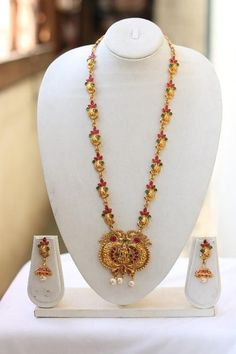 Traditional South Laxmi With Pearls work Temple Jewellery Long Necklace Set for Women Pearl Jewelry, Indian Jewelry, Gold Jewelry, Women Jewelry, Necklace Set, Gold Necklace, Necklace Online, Temple Jewellery, Gold Plated Necklace