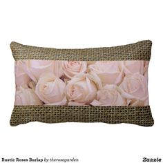 Rustic Roses Burlap Throw Pillows