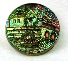 Antique Black Glass Button w Carnival Luster Sailboat in A Harbor Design | eBay