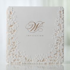 "Product Details when folded : 13.7cm x 13.7cm (5.4"" x 5.4"") when opened : 13.7cm x 34.4cm (5.4"" x 13.54"")     INCLUDED IN THE BASE PRICE: Invitation White Premium Envelope Return..."