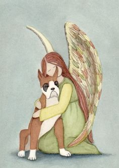 Boxer cropped ears with angel / Lynch signed by watercolorqueen