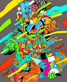Les illustrations acides de Bicicleta Sem Freio illus acide colour fluo 03 654x800