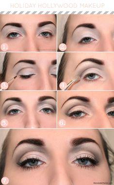 Holiday Hollywood Makeup Tutorial The brows are a bit much for me. Love Makeup, Makeup Tips, Beauty Makeup, Makeup Looks, Makeup Tutorials, Makeup Ideas, Contour Makeup, Skin Makeup, Eyeshadow Makeup