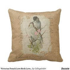Victorian French Love Birds Love Song Pillow