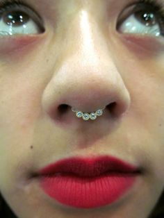 Gold septum jewelry from BVLA. E-mail Braindrops.sf@gmail.com with questions. #Braindrops, #bodyjewelry, #piercings