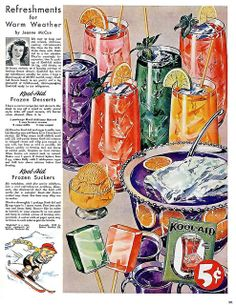 Summer just isn't the same without that sugary rainbow of Kool-Aid flavours. #food #drinks #vintage #ads