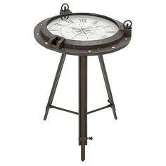 urban designs industrial porthole metal round clock coffee and end table ebay