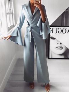 Irregular Flared Sleeve Knot Side Wide Leg Jumpsuit fashion dresses pictures summer outfits style dress for girl,work dresses outfit ideas,party dresses Trend Fashion, Modern Fashion, Look Fashion, Womens Fashion, Ladies Fashion, 50 Fashion, Cheap Fashion, Fashion 2018, Spring Fashion