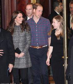 Leaving: The couple attended the event at the British Consul General's Residence to recognize the work of The Tusk Trust and other partners of William's charity United for Wildlife. Above, William, Kate and Chelsea (right) leave he residence following the reception