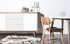 The contrast of cool and cozy Nordic dining. #GetTheLook with the Lucas Sideboard, Kasper Dining Chair, Dolf Dining Table and new accessories from Kure  #dining #DanishDesign #NordicDesign #RoveConcepts #Kure