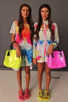 Jess & Stef of How Two Live. Great matching neon and white outfits