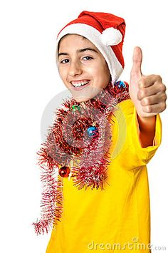 Royalty Free Stock Photography: Santa boy thumb up funny cute teenager wearing claus hat christmas decorations showing thumbs white background. Thumbs Up Funny, Vector Illustrations, Funny Cute, Royalty, Christmas Decorations, Santa, Stock Photos, Boys, Photography