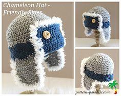 Crochet ~ Chameleon Friendly Skies ~ Size Newborn to Adult ~ Medium Worsted Weight Yarn free pattern Crochet Kids Hats, Crochet Beanie, Cute Crochet, Crochet Crafts, Crochet Projects, Knitted Hats, Knit Crochet, Foto Newborn, Newborn Crochet