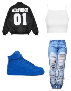 """""""COUPLE BANDZZZ ON MY LEFT AND MY RIGHT SIDE!!"""" by queen-miy ❤ liked on Polyvore featuring NIKE and Topshop"""