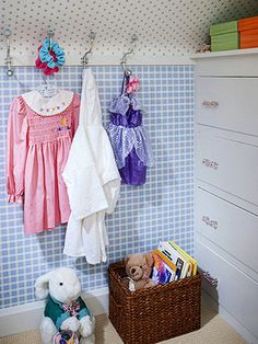 Small-Space Smarts - Good things come in small packages, even small closets. Make the most of a small closet in a kids' room by first giving it a pretty perk-up with wallpaper. If space is too tight to install a closet organization system, bring in a short dresser instead and add a row of hooks to a section of wall.
