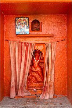 Shrine to Hanuman, warrior monkey God #India #orange #shrines #Hanuman #interiors