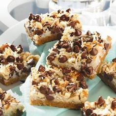 Magic Cookie Bars Printable Recipe  I make these all the time and they are a GREAT hit. I substitute 1 bag of peanut butter chips for 1 bag of the chocolate chips. I also omit the coconut since my son doesn't like coconut.