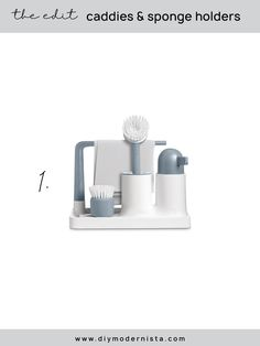 A nicely-designed all-in-one sink solution that comes with a soap dispenser and cleaning brushes. I do wish they had an option with two soap dispensers to allow for the dish soap. The soap dispenser is available on the AR+COOK website, or you can add your own white soap dispenser on the side. #kitchenorganization #kitchensinkcaddy #modernkitchen #kitchensinkorganizer