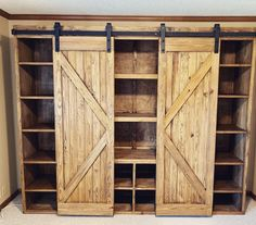 Excited to share this item from my shop: Barn Door Bookshelves / Bookcase / Office / Custom / Farmhouse /Rustic / Decor / Best Seller / Built In Pallet Furniture, Rustic Furniture, Furniture Design, Office Furniture, Furniture Ideas, Furniture Buyers, Furniture Removal, Dressing En Palette, Barn Door Bookcase
