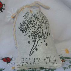 Fairy Herbal Tea in Hand Stamped Muslin Gift Sack. $4.95, via Etsy.