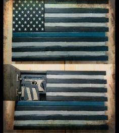 """Pistol and Magazines Hidden in """"Thin Blue Line"""" Wall Hanging"""
