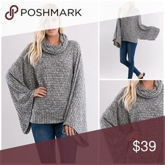 """Kimono knit poncho HOST PICK PRETTY FLIRTY GIRLY!Gray Kimono with Wide Batwing Sleeves and Rib Knit Turtleneck. Banded at the Waist. approx measurements since it's oversized. Bust S20"""" M21"""" L22"""" Length S25"""" M26"""" L27"""". Arm opening at the top S19"""" M20"""" L21"""". Banded Waist; S18"""" M19"""" L20"""". 60%Poly  35%Rayon, 5%Spandex Angelique's Atelier Tops"""