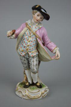 Antique Meissen Figurine Boy with Flower
