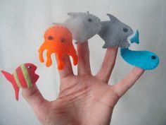 Sea animal finger puppets - Felt song prop - Montessori educational toy. £11.00, via Etsy.